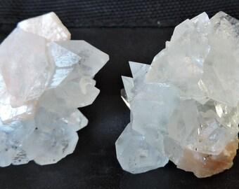 Pair of Apophyllite tip with Stilbite pink-peach pastel 66.74gr. #APS32