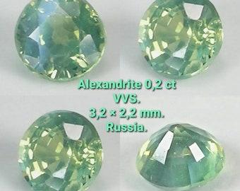 Alexandrite Chrysoberyl Natural 0.2ct VVS. Untreated.  3.2x2.2mm. Russia. Port offered.