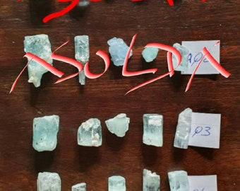 Aquamarine crystals, sold in batches of 5. AQ1 and AQ2: sold.