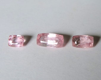 Pink spinelle SI, set of three rectangular 3ct gems. #SR52