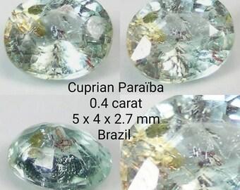 Tourmaline Paraiba cupriferous 0.4 carats.  5-4-2.7 mm. Brazil. Unheated. Port offered.