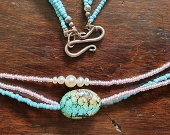 Gem necklace (Tourmaline, Grenat, Turquoise, Labradorite...).