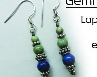 Gem and Silver Earrings: Lapis-Lazuli, Labradorite, Turquoise, cultured pearls... choice. Made in France.