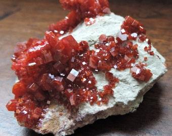 Vanadinite of a beautiful brilliance 118.3 grams of Mibladen, Morocco. 65.6x56x29mm. #VA91
