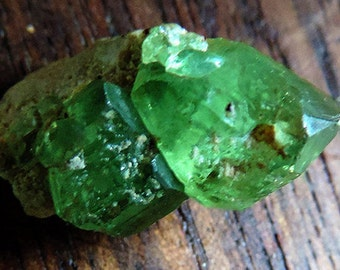 RARE demantoid andradite green garnet facet crystal 6.9k from Madagascard. 19x12x11mm. #ANDR