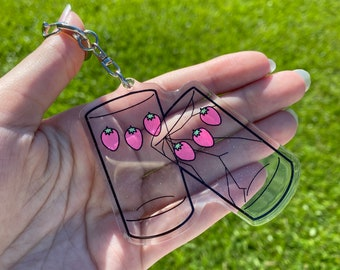 """Glitter Cracked Matching Strawberry Cups Nana Inspired 3"""" Inches Acrylic Keychain"""