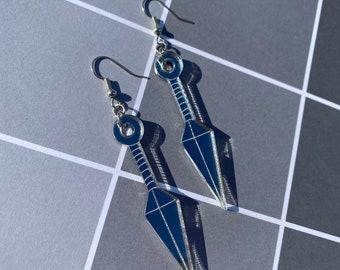 Large Ninja Knife Mirror Backed Acrylic Earrings