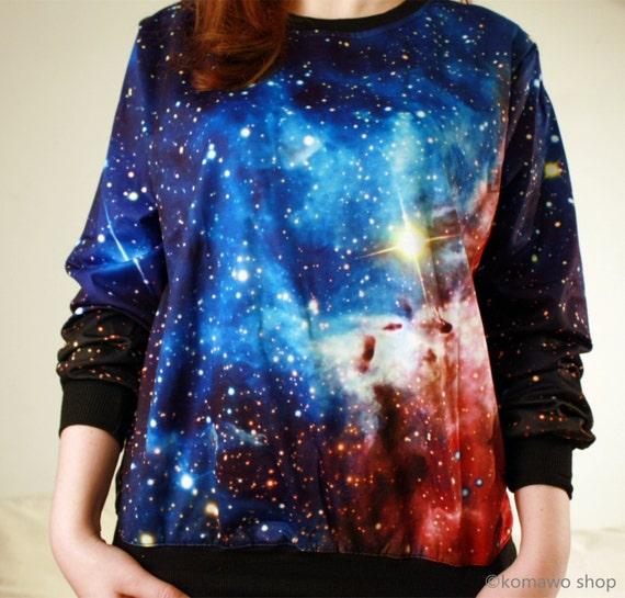 reloj e4f55 be793 Sudadera Unisex básica galaxia sudadera / galaxia Cosmos de impresión /  cómoda suelta ajuste Top camisa espacio suéter/cuello redondo jersey dj2