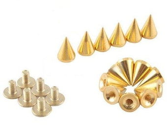 100Set/Bag 10mm screwback punk cone metal gold spike studs for shoes jacket denim diy