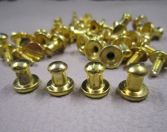 10x6mm - 10Sets Metal rivet stud spikes - Gold Finish Round Head Screw Back Stud