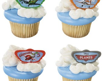 24 Disney Planes Dusty & Friends Cupcake Rings Topper Party Favor Cake Decor