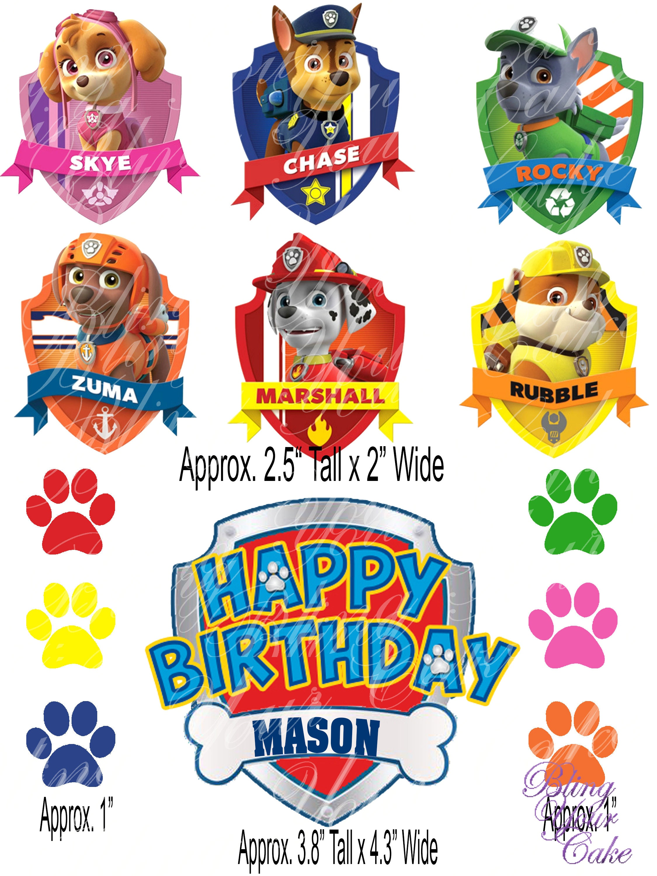 Paw Patrol Logo Character Badges Edible Icing Image For Etsy