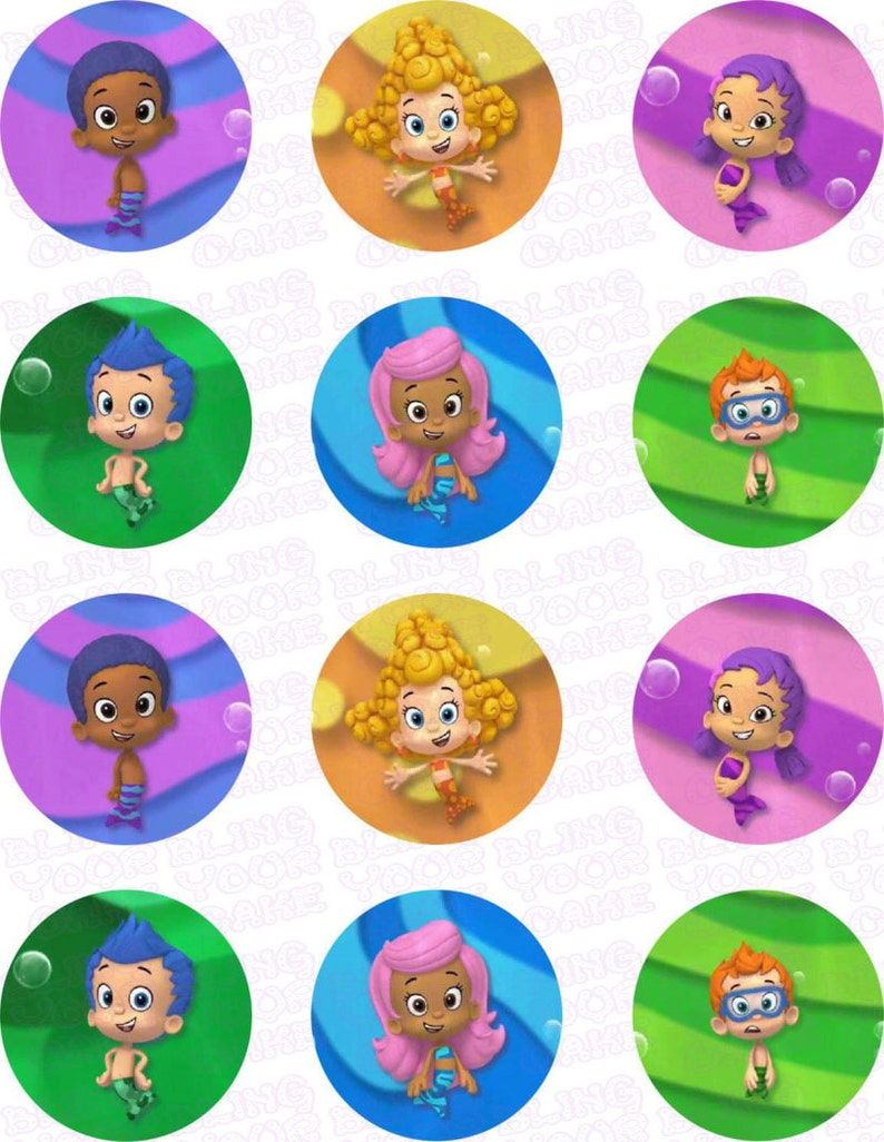 Bubble Guppies Gil, Molly, Oona, Nonny, Goby & Deema Inspired Edible Icing  Cupcake Decor Toppers