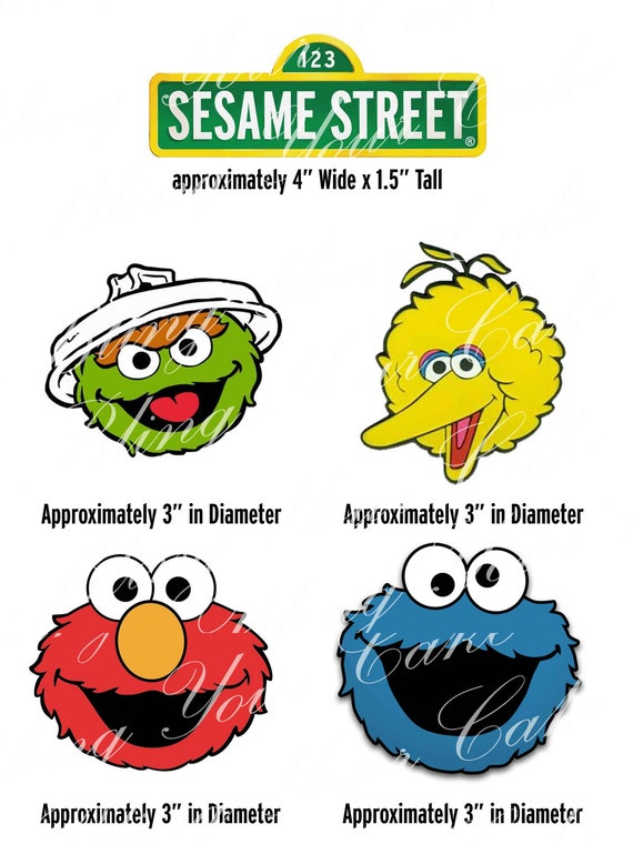 Sesame Street Elmo Big Bird Cookie Monster Oscar The Grouch Edible Icing Cake Decor Topper Ss10