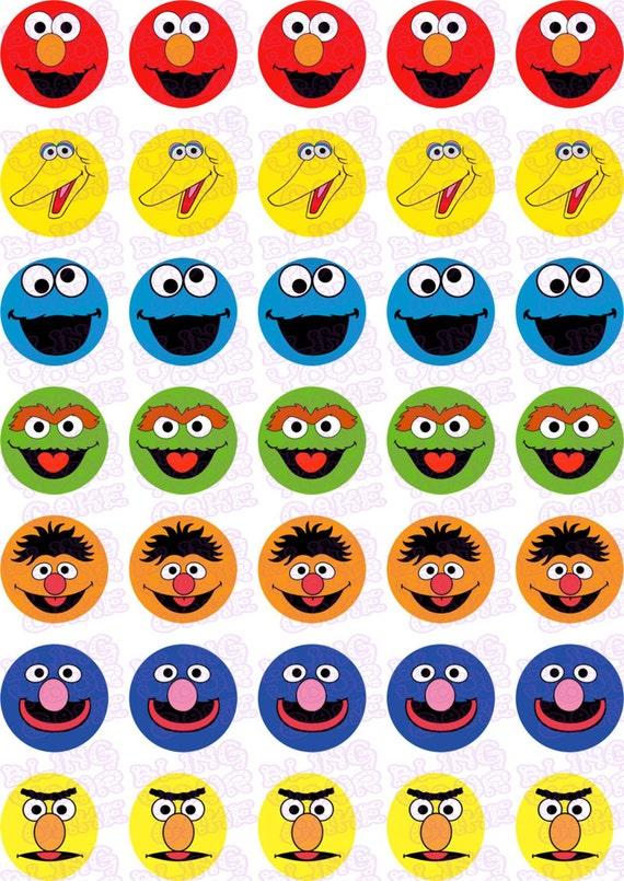 Sesame Street Elmo Big Bird Cookie Monster Oscar Bert Ernie Grover Icing Mini Cupcake Brownie Bites Cake Pops Cookie Decor Topper