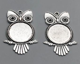 5 Big owl silver tone cabochons Blank setting Pendants bezel tray 20mm Charms ..