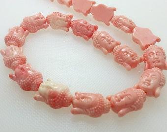 18 mm Buddha Bead , Coral Buddha Beads pcs , Meditation Beads  ,Buddha Jewelry, Yoga Jewelry