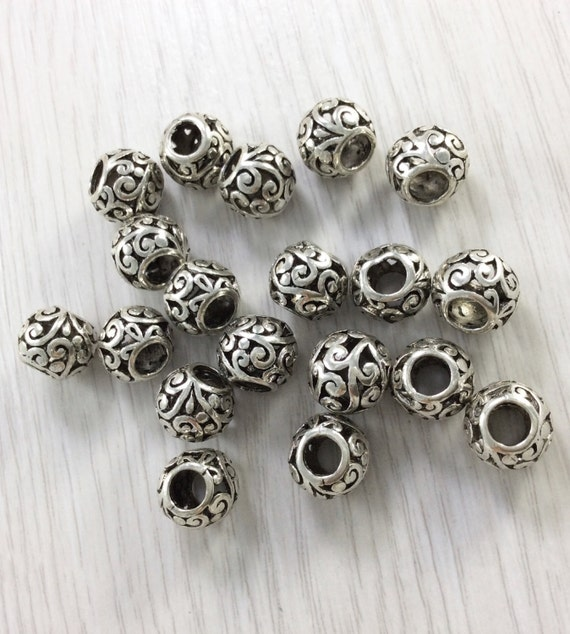 Free 10//50Pcs Tibetan Silver Big Hole Spacer Beads For Jewelry Making 10x7mm
