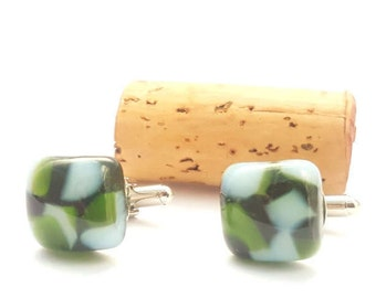 Recycled wine bottle cufflinks in green and frosted glass/square upcycled glass cufflinks
