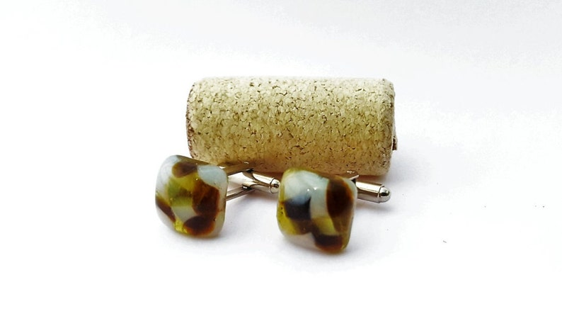 Recycled wine bottle cufflinks in brown yellow and frosted glassRepurposed square cufflinks