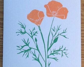 Poppies linocut block print card