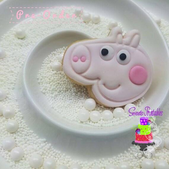 Peppa Pig Sugar Cookie 2 Fondant Cookies Party Favor Cookies By