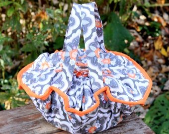 Gray & Orange Floral Casserole Carrier,Insulated Casserole Carrier,Casserole Tote,Hot Dish Carrier,Housewarming