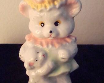 Vintage Teddy Bear Girl, Holding Teddy Bear Figurine - Circa 1970's - Adorable!!