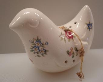 Vintage Porcelain Floral Bird Pomander - Porcelain Sachet - Potpourri Sachet - Great Vintage Decor!!