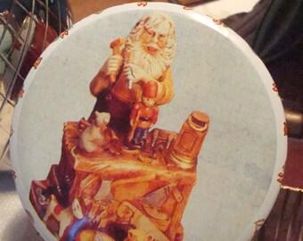 Vintage Small Christmas Tin, Santa Claus Toy Maker on Cover - Circa 1960's - Adorable!!