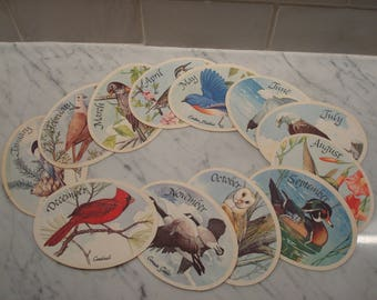 Vintage Bird of the Month Paper Ovals - Bird Descriptions On Back - Excellent Condition!!