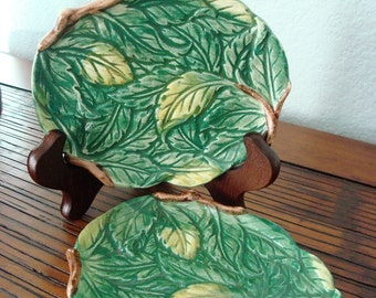 Vintage Pair of Hand Painted Leaf Dishes - Takahashi, San Francisco - Made in Japan - Excellent Condition!!