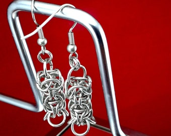 Funky stainless steel captive inverted round earrings.  Surgical steel ear wires, velvet gift pouch.
