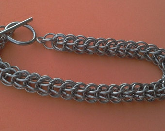 Classic Full Persian Chainmaille Bracelet.  Stainless Steel.  Gift boxed