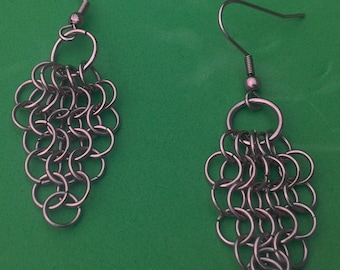 Stainless surgical steel earrings.  Bunch of grapes european 4 - 1 style.  Gift pouch.