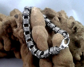 Funky Stainless Steel Bracelet, Orbital Chainmaille Style.  Gift boxed.