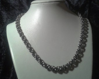Kings spiral choker necklace.  Stainless steel.  Double spiral chainmaille / chainmail. Gift boxed. Unisex.
