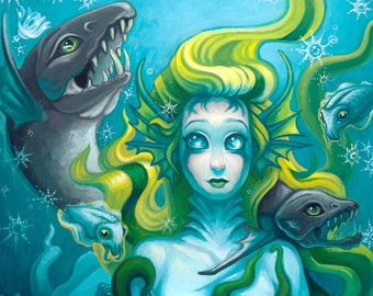 Daughters of Innsmouth print by Angel Hawari, Sea Monster, Monster Girl, Lovecraft, Cthulhu, Cuttlefish, Cephalopods, Tentacles