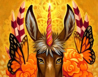 Donkeycorn print by Angel Hawari, Unicorn print, donkey, monarch butterflies, unicorn horns, fantasy art