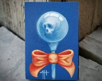 Skull Pop original painting by Angel Hawari, haunted candy, lost soul,  acceptance