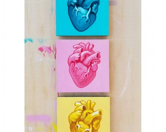 Anatomical Hearts by Angel Hawari, blue pink yellow, true love, tokens of affection, medical art