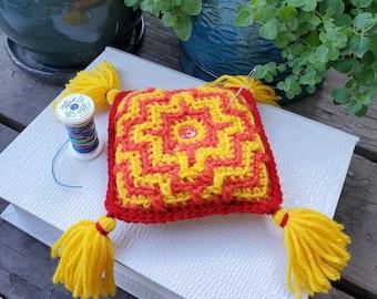 Pincushion, Crocheter's Pillow, Handmade, Crochet, colorful, patterned, tassels