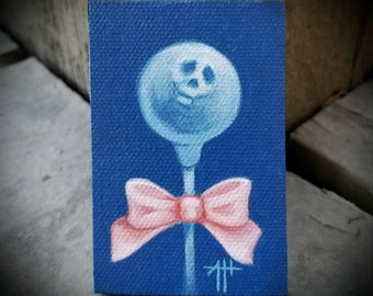 Skull Pop original painting by Angel Hawari, haunted candy, lost soul, tenderness