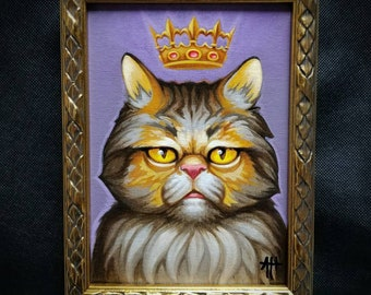 Royal Highness original painting by Angel Hawari, cat art, Persian,  smush face, cute fluffy kitty, aloof kitty