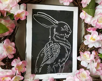 Raven Wing block print, winged hare, Angel Hawari, black and white print