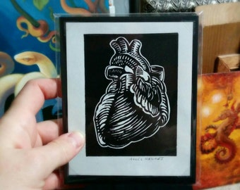 Anatomical Heart, block print, Angel Hawari, love, token of affection