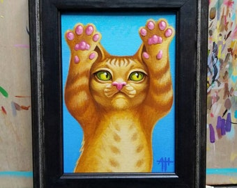 Toebeans original painting by angel Hawari, cat art, yellow tabby kitten, squishbeans, cute fluffy kitty, tummy rubs