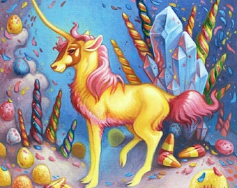 Unicorn Candyland, art print, by Angel Hawari