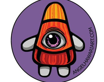 Surprised Candycorn sticker by Angel Hawari, vinyl art sticker, candyland, artist sticker, collectible sticker