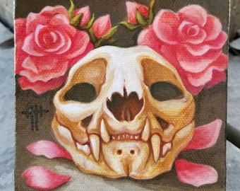 Cat Skull & Wild Roses original painting by Angel Hawari, skull art, canvas painting, bones and roses, floral, natural history